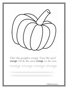 Orange Pumpkin Worksheet