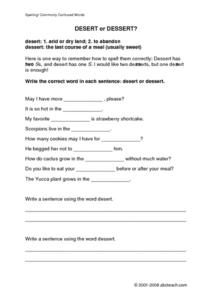 Desert Not Dessert! Worksheet