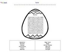 Easter Word Search in an Egg Shape Worksheet