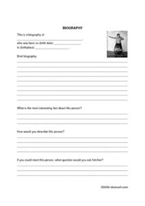 Biography Book Report Form Worksheet