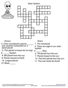 Solar System Crossword Puzzle Worksheet