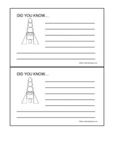 Did You Know- Rocket Cards Worksheet