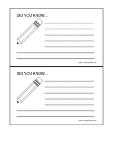 Pencil Shaped Do You Know Cards Worksheet