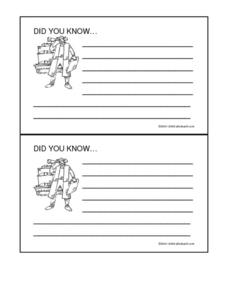 Early Explorers- Did You Know Cards Worksheet