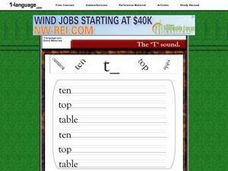 "The ""T"" Sound Worksheet"