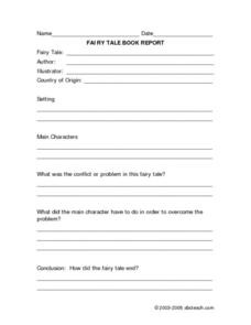 Fairy Tale Book Report Form Worksheet