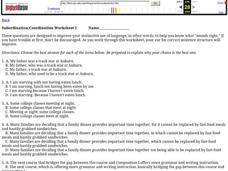 Subordination/Coordination Worksheet 1 Worksheet