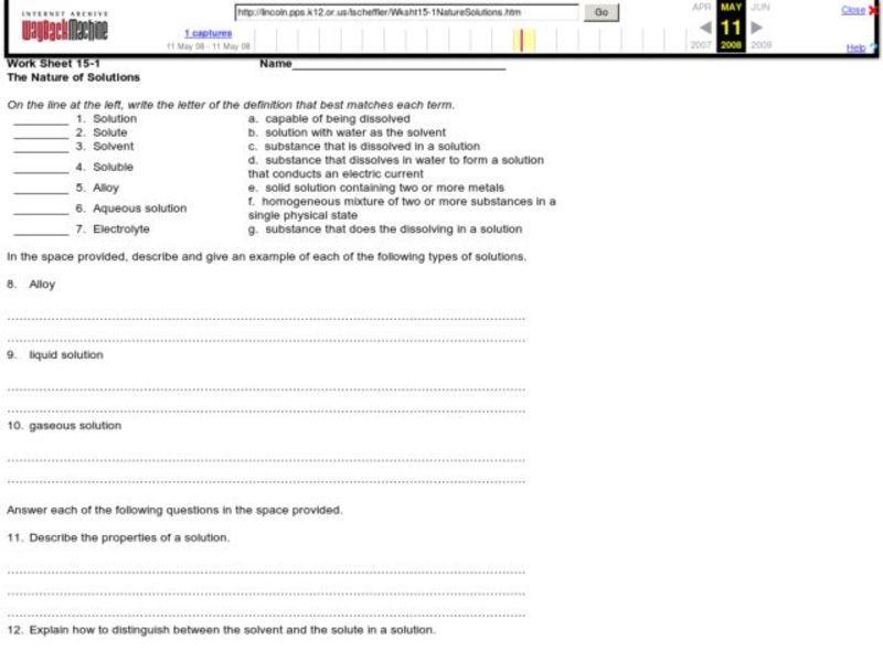 Solubility Lesson Plans Worksheets Lesson Planet