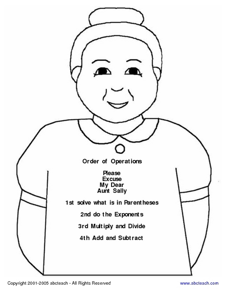 Order of Operations Reminder Poster Worksheet for 4th