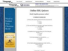 Online Esl Quizzes- Common Similes Worksheet