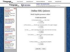 Online ESL Quizzes- Comparatives Worksheet