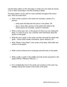 Multiple Use Flower Power Graphic Organizer Worksheet