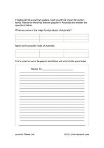 Australian Products Research Recording Sheet Worksheet