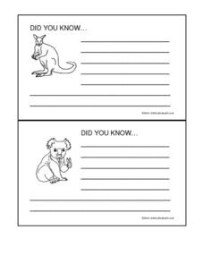 Australia Did You Know Cards Worksheet