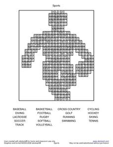 Sports Word Search Worksheet Worksheet