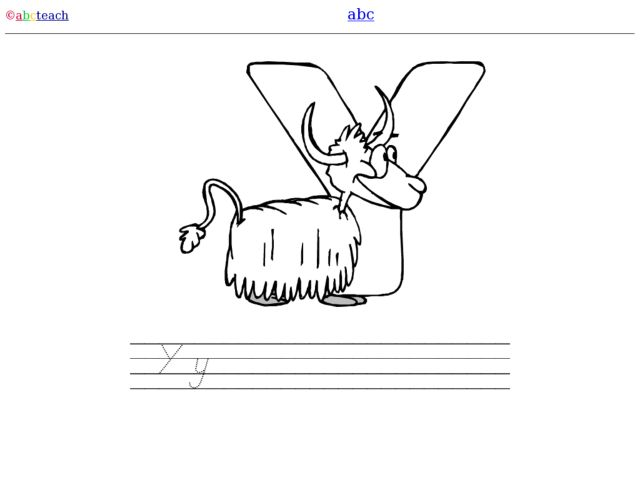 Y is for Yak: DeNelian Printing and Coloring Page