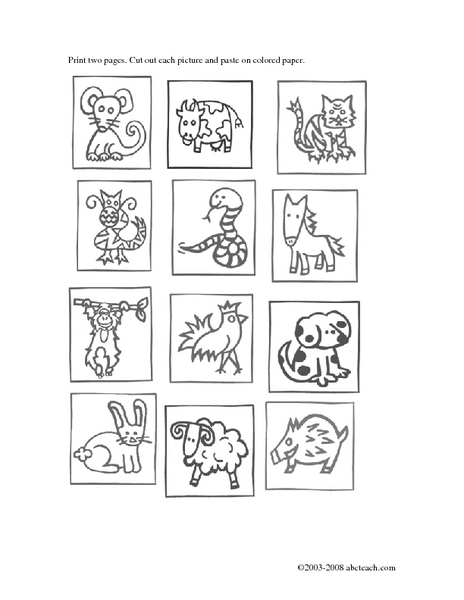 chinese zodiac matching game worksheet for 3rd 6th grade lesson planet. Black Bedroom Furniture Sets. Home Design Ideas