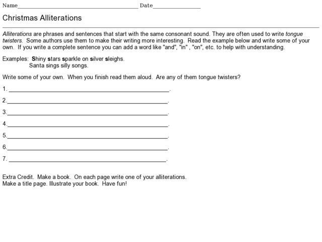Christmas Alliterations 5th  6th Grade Worksheet  Lesson Planet