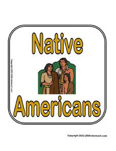 Theme Signs: Native Americans Worksheet