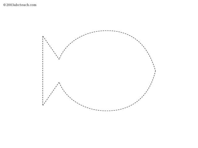 Tracing A Fish Shape Worksheet For Pre-K