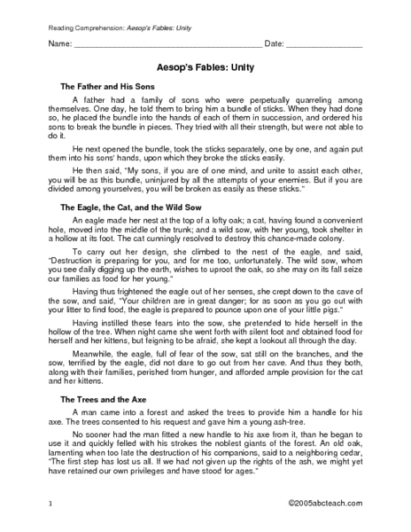 Aesop 39 S Fables Unity Worksheet For 4th 5th Grade
