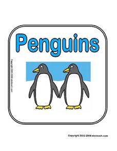 Theme Signs:  Penguins Worksheet