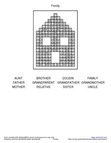 Lower Elementary Family Word Search Worksheet