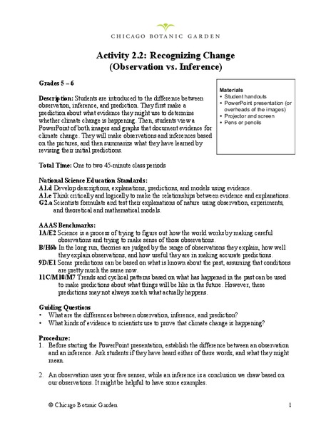 Recognizing Change Observation Vs Inference Lesson Plan For 5th 6th Grade Lesson Planet