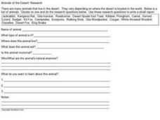 Animals of the Desert:  Research Worksheet
