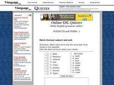 Online ESL Quizzes- Subjects And Verbs - 1 Worksheet