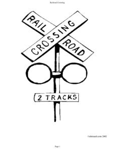Railroad Crossing Coloring Page Worksheet