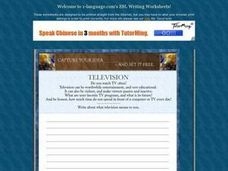 Television Essay Worksheet