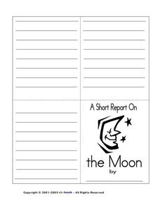A Short Report on the Moon:  Black and White Copy Worksheet