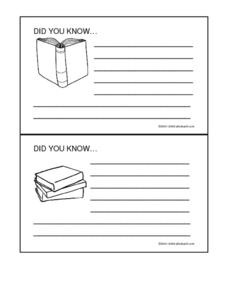 Did you know.... Book Cards Worksheet