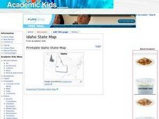 Idaho State Map Worksheet