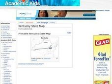 Kentucky State Map Worksheet