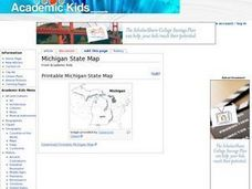 Michigan State Map Worksheet