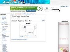 Tennessee State Map Worksheet