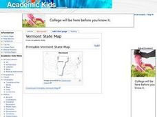 Printable Map of the State of Vermont Worksheet