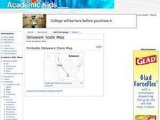 Delaware State Map Worksheet