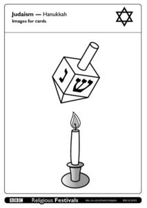 Judaism - Hanukkah, Images for cards Worksheet