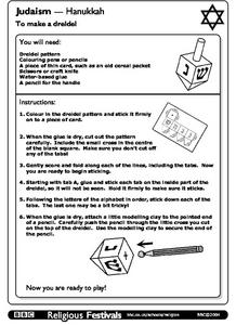 Judaism-Hanukkah: How to Make a Dreidel Worksheet