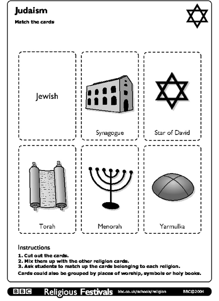 Judaism: Match the Cards Worksheet for 5th - 7th Grade | Lesson Planet