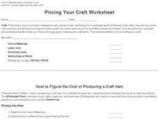 Pricing Your Craft Worksheet Worksheet