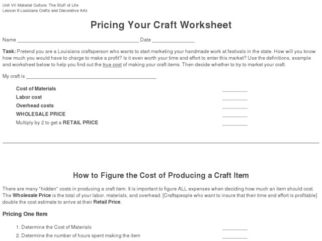 Pricing Your Craft Worksheet Graphic Organizer