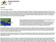 "Volcanoes:  ""The Lost Continent of Atlantis"" Worksheet"