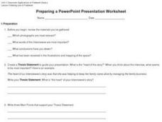 Preparing a PowerPoint Presentation Worksheet Worksheet