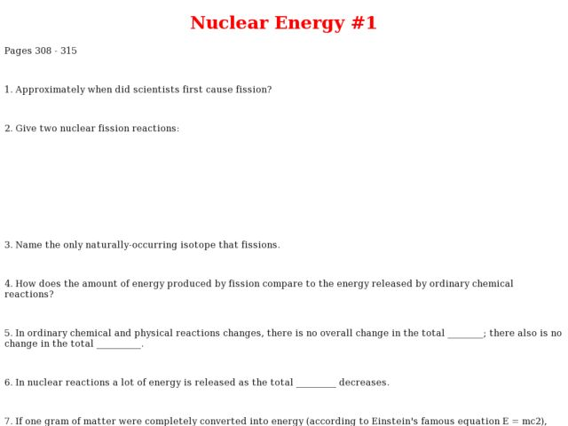Nuclear Energy Worksheet for 10th - Higher Ed | Lesson Planet