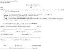 Gimme a Clue Worksheet Worksheet