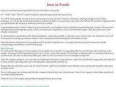 Iron in Foods Lesson Plan